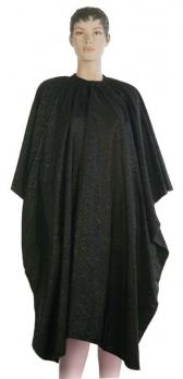 "Пеньюар для стрижки DEWAL"" Роза"", полиэстер, черный 128x150 см на крючках"