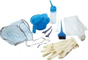 Набор для окрашивания DEWAL,9 предметов:шапочка, перчатки,пелерина,миска,апликатор,кисточка,2зажима,лопаточка для краски и крючок