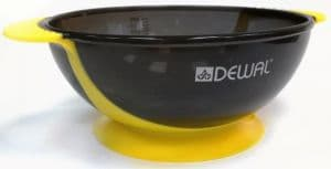 Чаша для краски DEWAL, желтая , с двумя ручками с прорезиненной вставкой 300 мл